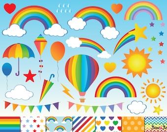 60 Rainbow Clipart,Digital Rainbow Clip Art,cloud clipart,Sky clipart,Air balloon clipart,kite clipart,heart star clipart,rainbow paper