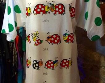 1980'-90's long lady-bug T-shirt, huge shoulder pads. Size S.