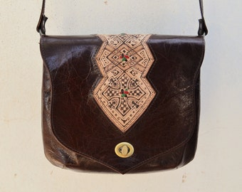 Genuine Goat Leather Messenger bag/ Crossbody bag/