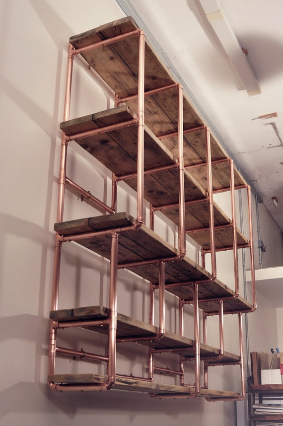 Shelf stepped design, 28mm copper pipe and reclaimed wood shelving ...