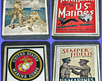 US Marine coasters - military gifts - US Marine gifts - US Marine Corps - Armed Forces gifts - Military Coasters - us marine posters