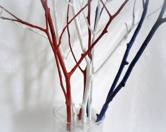 Tree branches, home decor branches, 4th of July decor, red white blue painted branches,  office decor, patriotic centerpiece, wooden twigs