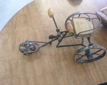Vintage Bicycle art sculpture, whimsical sculpture, metal art sculpture, collectable art, rustic metal sculpture.