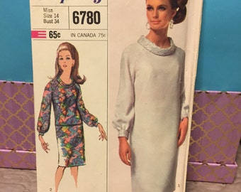 Simplicity 6780 vintage 60s dress sewing pattern size 14