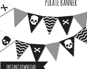 Pirate Banner, Pirate Party, Bunting Banner, Printable Banner, DIY Banner, Pirates Banner, Party Supplies, Pirates Bunting Banner, Pirates