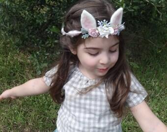 Baby Flower Crown, Toddler Bunny Crown, Woodland, Photo Prop, Pink , Bunny Rabbit Headpiece, Infant Flower Crown, Newborn Headband