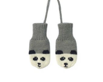 SALE! Grey Baby Mittens, grey knitted baby mittens with panda design. British wool | Size 0-6M