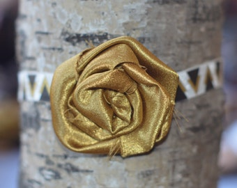 Gold with triangles shabby chic flower headband, size 3-6 MONTHS