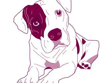 Pitbull, American Staffordshirt Terrier Vector, Clipe Art, Bully Breed, Downloadable, Marketing Promotional, Canine, Dog Illustration