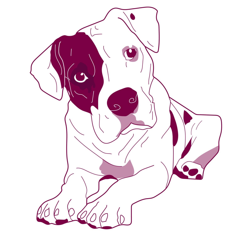 Pitbull American Staffordshirt Terrier Vector Clipe Art