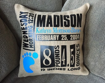 Personalized Baby Birth Burlap Pillow Cover