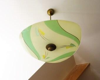 Chandelier modernist design suspension 1950 s soft decor glass lamp-abstract ceiling triangle mid century/illuminati10
