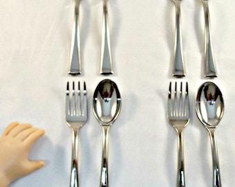 "8 Piece Set Silverware Fork & Spoon - Doll Food fit 18"" American girl Dolls / bjd, spoons for dolls, doll spoons, silverware for doll's"