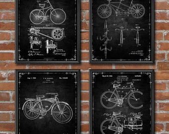 Bicycle Print - Set of 4 - Bicycle Decor - Cycling Art Patent Print - Gifts for Cyclist - Patent Wall Art Poster Sports Decor 1407