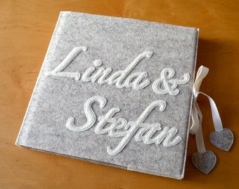 scrapbook / wedding guestbook with felt cover, personalized, 21x21cm