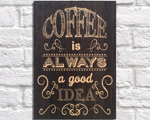 Coffee Sign Decor Kitchen Wall Art Wood Art Wall Art Typography Quote