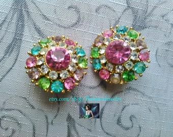 Gold and Multi Colored Rinestones ClipOn Earrings  CE#501