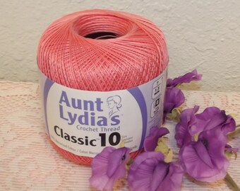 Aunt Lydias Classic 10 Coral Cotton Thread, Coral Crochet Thread, Size 10 Cotton Thread, Coral Thread, Coral Cotton Thread