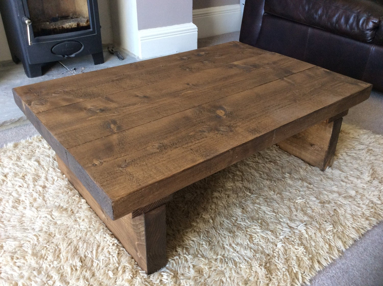 Rustic Handcrafted Reclaimed Wooden Coffee Table In Walnut