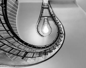City Fine Art Photo: Prague, Spiral Stairs, Fine Art Black and White Photo from Prague Czech Republic
