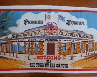 Vintage pure linen tea towel souvenir of Gulgong
