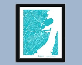 Quebec City map, Quebec City city art map, Quebec City wall art poster, Quebec City decorative map