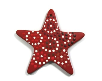 Shades of Red Polka Dot Star Ceramic Ornament Ready to be Personalized