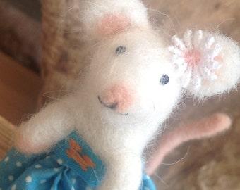 White mouse needlefelt sculpture