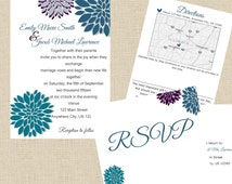 Peacock Theme Wedding Invites, RSVP, and Direction Cards *DIGITAL File Only