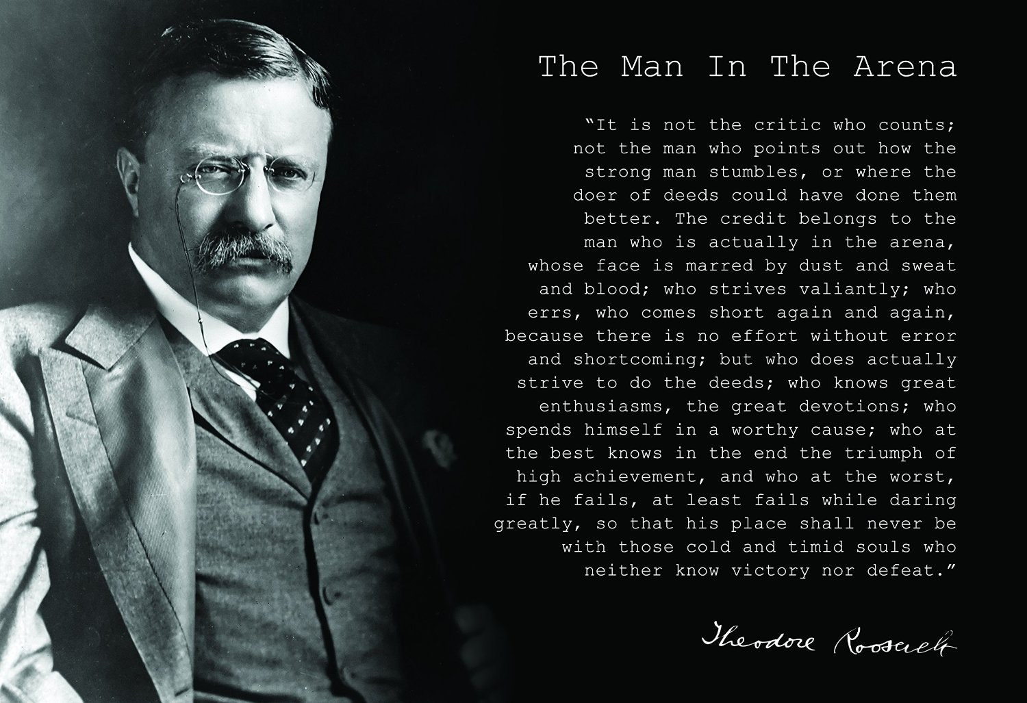 Theodore Teddy Roosevelt the Man in the Arena Quote 24x36 Theodore Roosevelt Quotes