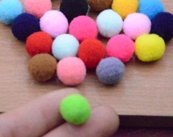 100pcs 15mm assorted Polyester Pom poms ball.pom pom ball.mix color pom pom ball finding. jewelry making
