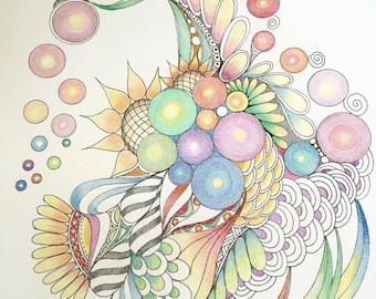 Zentangle abstract, abstract art,zentangle art,colored zentangle, ink colored pencils,wall art,wall decor