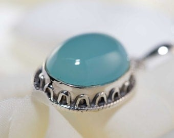 Teal blue chalcedony pendant necklace - teal blue gemstone / chalcedony necklace set / pale blue gemstone