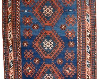 SALE 15% OFF 3.9' X 6' ( 120cm X 185cm) hand made antique Caucasian Kazak rug 1900