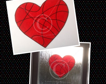 Heart window cling hand painted red for glass & mirror surfaces, reusable faux stained glass effect, static cling decal, suncatcher, decals