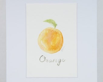 Orange in watercolor matted 8x10