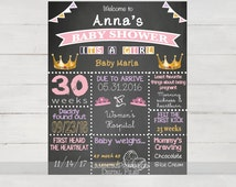 Baby shower decor, baby shower welcome, Baby shower princess, baby shower chalkboard, tiara, tutu, princess theme baby shower, pink and gold