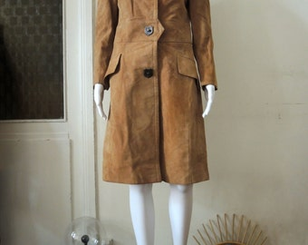 Vintage 60s 70s toffee brown suede coat coat