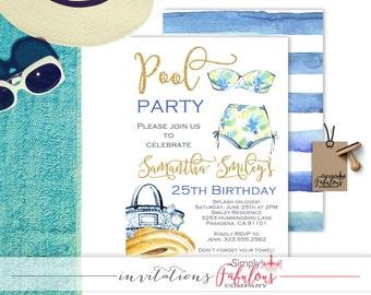 Gold and Watercolor Bikini Pool Party Invitation - Summer Fun Birthday Invitation - Birthday Pool Party Invitation - Bikini DIGITAL FILE