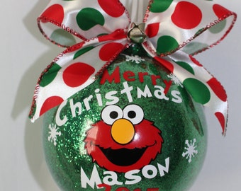 "Elmo Ornament Sesame Street Ornament, Personalized with year and name. 4"" Acrylic (hard plastic) or Glass Ornament made with Vinyl decals"
