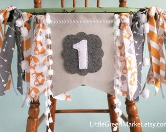 Fox Banner, Woodland creatures party, Orange and Grey banner, Highchair 1st Birthday Banner, Smash cake photo shoot prop