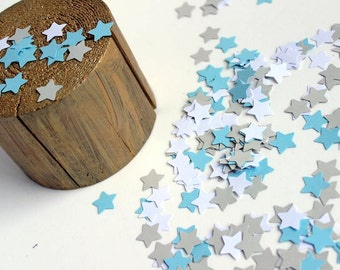 Paper Star Confetti White, Grey and Blue , Baby Boy Shower Decoration, Star Centerpieces,  Paper Star Shapes, Table Scatter, Star Die Cuts