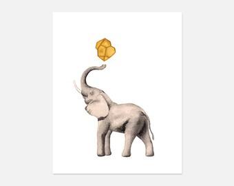 Elephant Watercolor Painting Print, Elephant Watercolor,  Elephant Art Print,
