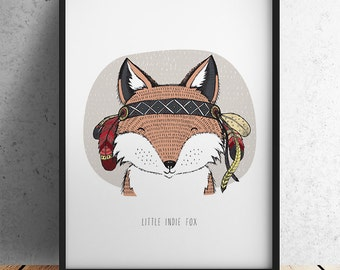 A3 Size Nursery Print - Little Indie Fox (Unframed)