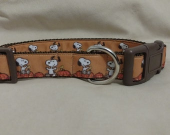 Cartoon Snoopy Peanuts Halloween Thanksgiving Great Pumpkin Inspired Dog Collar