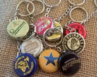 Upcycled beer/cider/lager bottle cap keyring chain