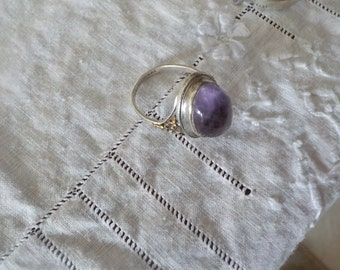 Silver Ring with large amethyst stone