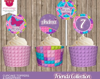 Personalised Lego Friends Inspired Cupcake Toppers and Wrappers - DIY Printable