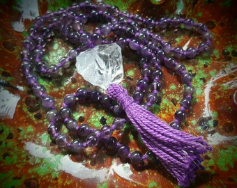 Sahasrana or Crown Chakra Mala Beads; 108 Hand Knotted Amethyst Mala Beads , 108 Mala Beads, Prayer Beads, Meditation Beads