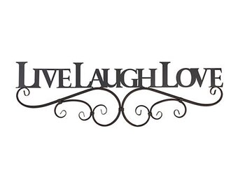 Shabby Chic LIVE LAUGH LOVE or Faith Family Friends Wall Art Choose your color